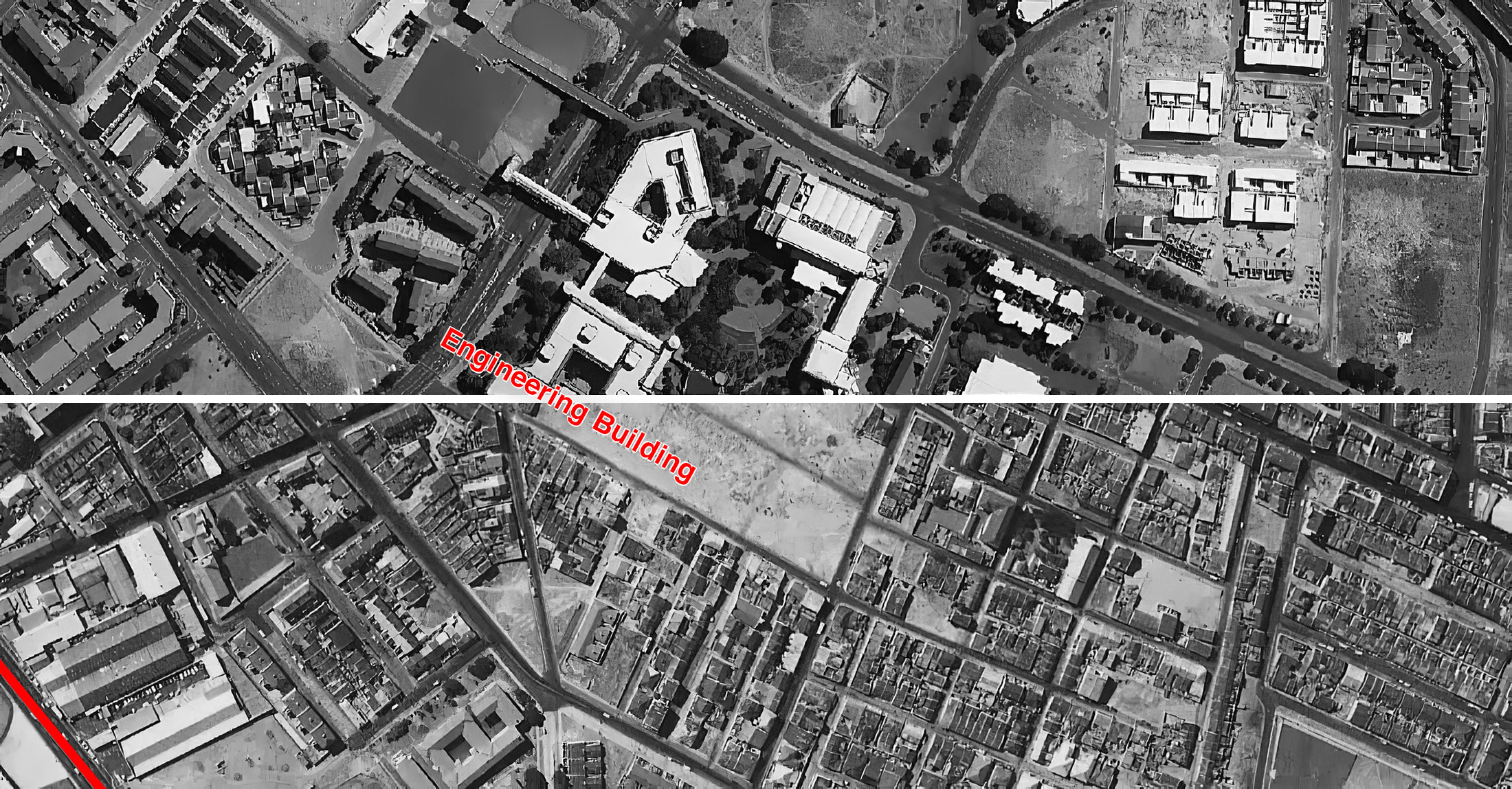 Figure 11. District Six detail, 2011 (top) over District Six map, 1968 (bottom)