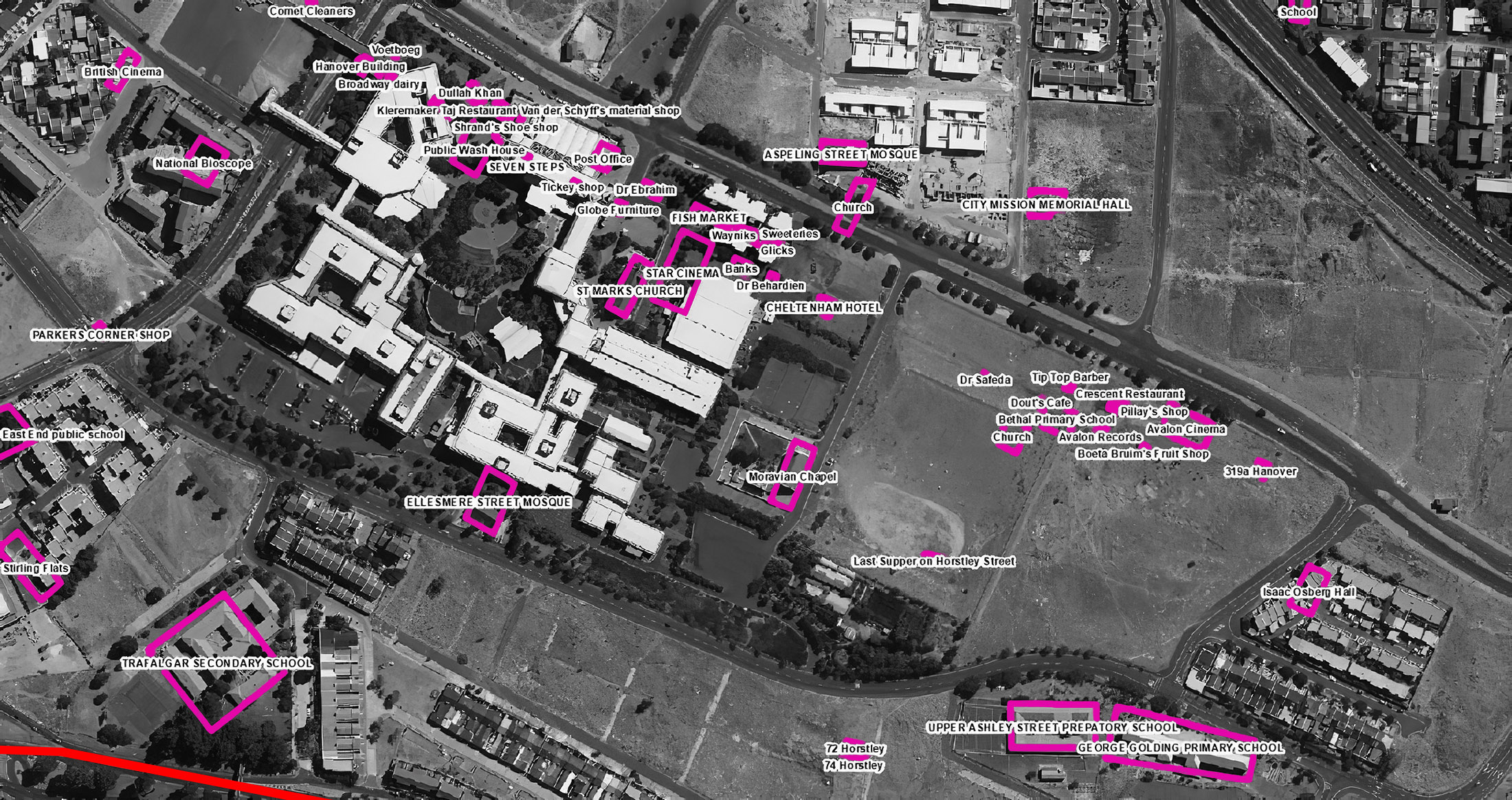 Figure 14. District Six historical sites over 2011 imagery